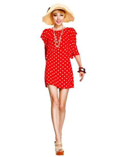 Red Polka Dot Round Neck Long Seeved Blouson Dress