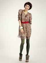 Vintage Brown Floral Chiffon Tunic Dress
