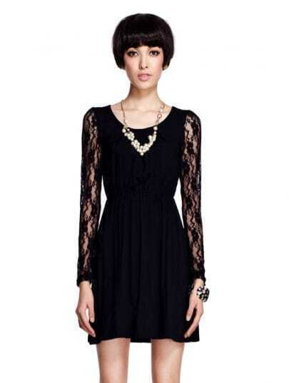 Sexy Black Lace V Neck Long Sleeved Dress
