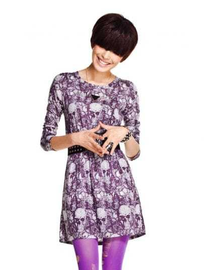 Purple Skull Printed Long Sleeve Tunic Dress