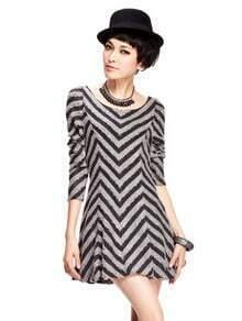 Grey Slope Stripes V Neck Dress