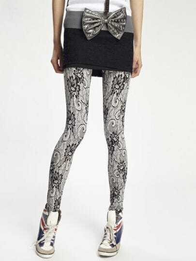 Fashion Black Print Lace Leggings