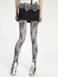 Fashion Black Print Lace Leggings