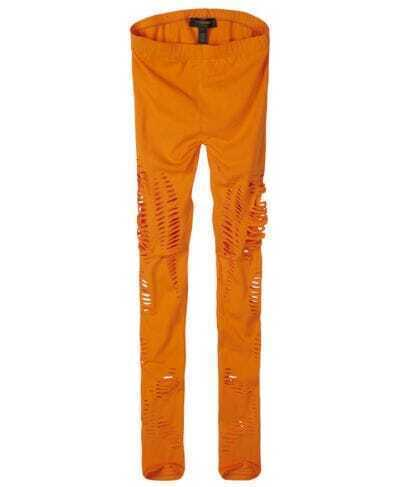 Orange Combed Cotton Skinny Leggings
