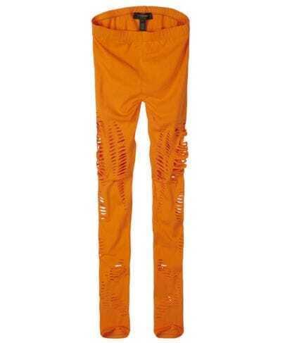 Orange Combed Cotton Skinny Leggings