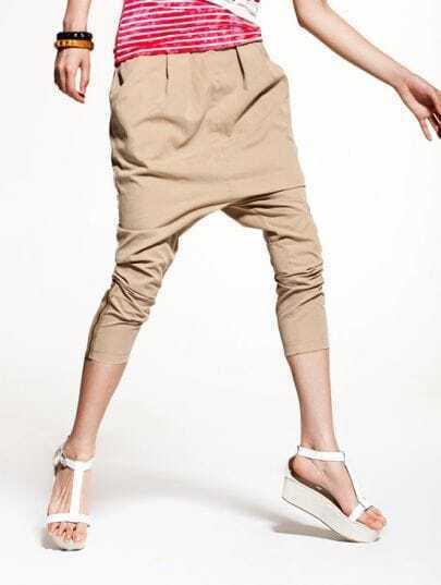 Fashion Khaki Solid Harem Pants