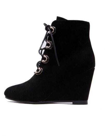 Black Suede Lace-Up Wedge Boot