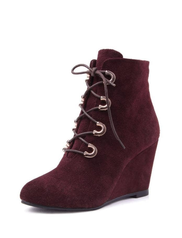 wine suede lace up wedge boot shein sheinside