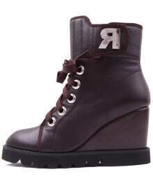 Genuine Leather R Letter Wedge Boots Brown
