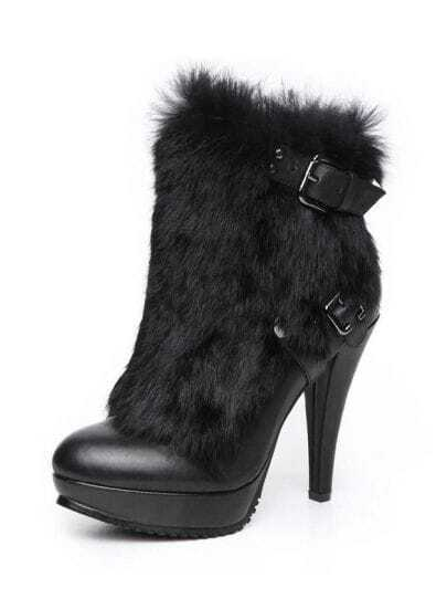 High Heel Platform Leather Boot With Angora