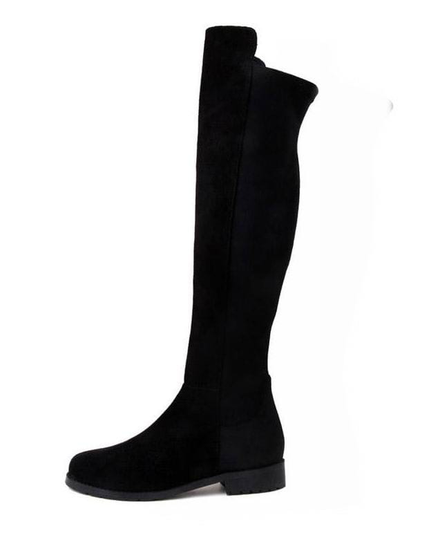 Suede Lycra Flat Knee High Boots Black -SheIn(Sheinside)