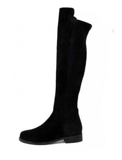Suede Lycra Flat Knee High Boots Black