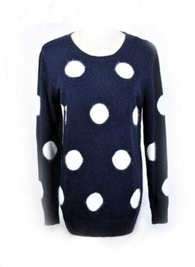Blue Round Polka Dot Casual Sweater