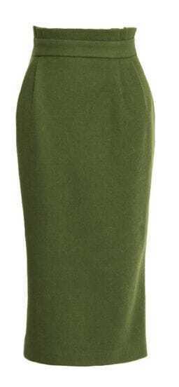 Green Vintage High Waist Skirt