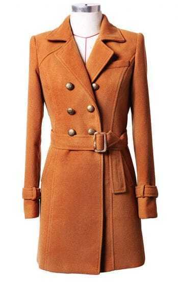 Double-breasted Wool Solid Coat