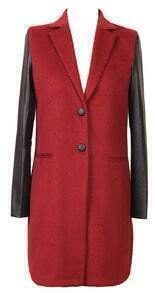 Lapel Red Woolen Single-breasted Coat