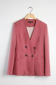 Pink Double-breasted Slim Cotton Suit