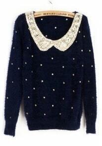 Navy Vintage Polka Dot Sequins Collar Fluffy Jumper Sweater
