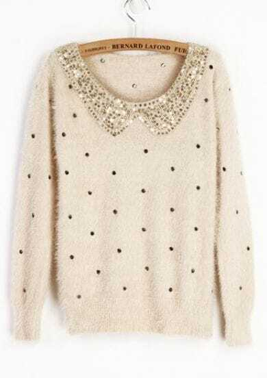 Ivory Vintage Polka Dot Sequins Collar Fluffy Jumper Sweater