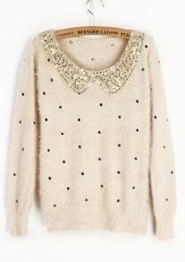 Ivory Vintage Polka Dot Sequins Collar Fluffy Jumper Sweater