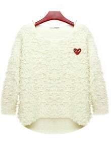 White Bat-type Round Neck Spring Sweater