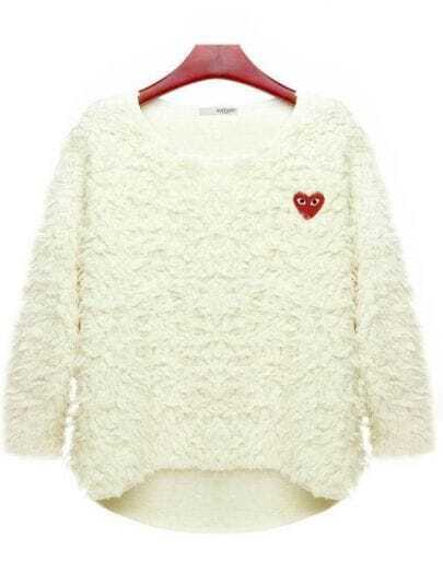 White Bat-type Round Neck Spring Sweater