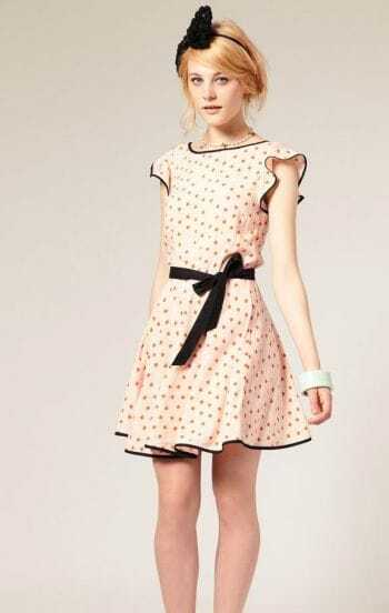 Pink Heart Pattern V Neck Ruffles Cotton Dress