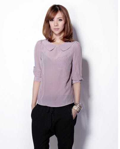 Vintage Three Quarter Length Sleeve Silk Shirt