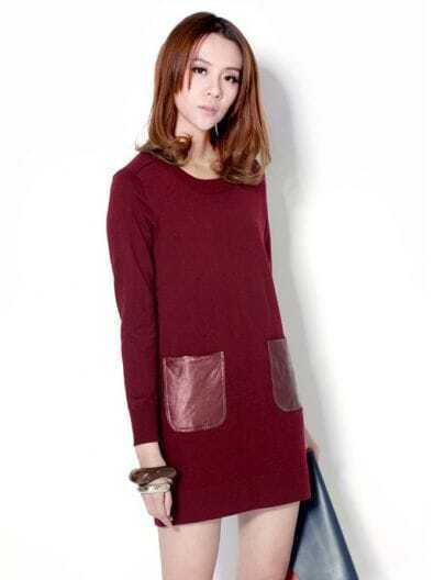 Simply Slim Woolen Red Round Neck Dress