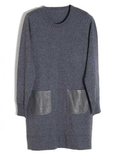 Woolen Grey Round Neck Dress with Leather Pocket