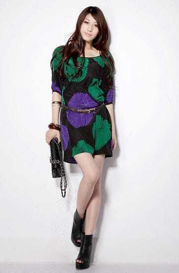 Green and Purple Short-sleeved Printed Floral Silk Dress