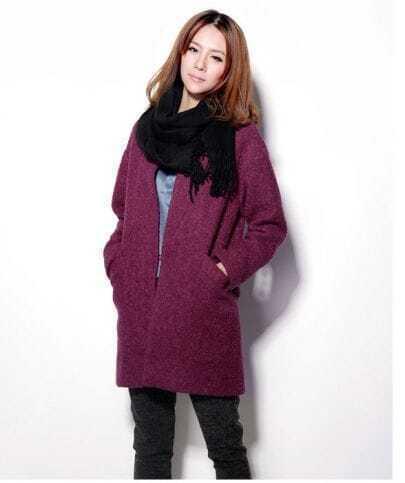 Slim Long Sleeve Woolen Coat