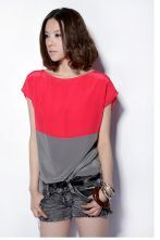 Red And Gray Short Sleeve Silk Shirt
