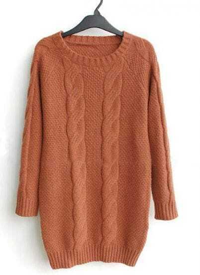 Vintage Orange Loose Long-sleeved Pullover