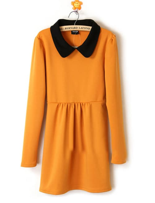 Yellow Cotton Lapel Winter Long Sleeve Dress -SheIn(Sheinside)