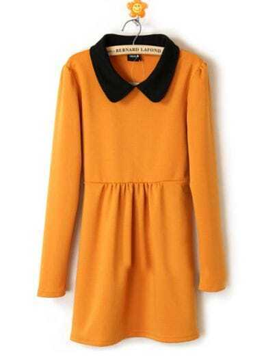 Yellow Cotton Lapel Winter Long Sleeve Dress