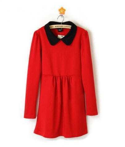 Red Cotton Lapel Winter Long Sleeve Dress