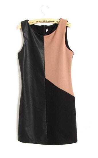 PU Black and Coffee Round Neck Sleeveless Tank Dress