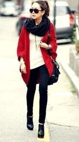 Red Bat Sleeve Cashmere Cape Sweater