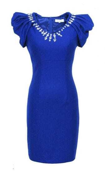 Blue Celebrity Puff Sleeve Woolen Beading Elegant Dress