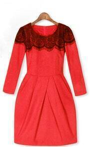 Red Cashmere Lace Celebrity Gorgeous Dress
