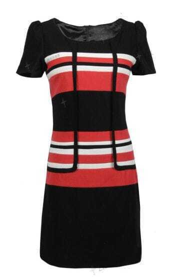 Black Stripe Short Sleeve Woolen Elegant Dress