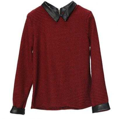 Vintage Red Houndstooth Pattern Lapel Shirt Thick Hedging