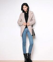 Literary Temperament Double-breasted Lapel Slim Woolen coat