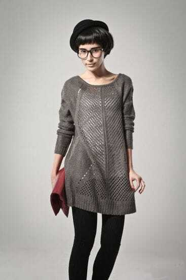 Grey Round Neck Loose Solid Straight Sweater