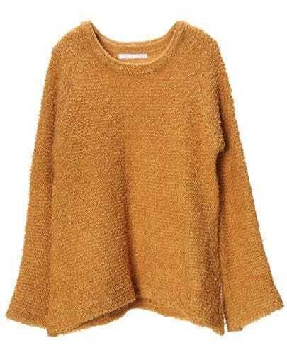 Vintage Camel Plush Loose Round Neck Sweater
