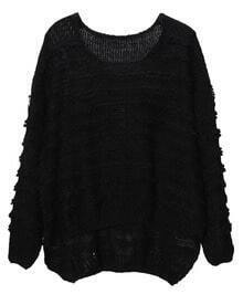 Asymmetric Loose Round Neck Black Pullover Sweater