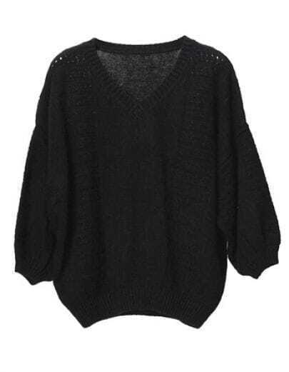 Loose V-neck Sweater Vintage Lantern Sleeve Hollow Black