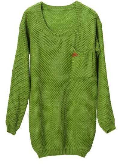 Casual Straight Loose Round Neck Pocket Pullover Green