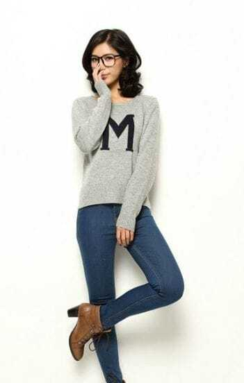 Leisure Grey Round Neck Pullover Monogram